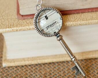 Christian Religious Necklace, Long Key Necklace, Prayer Jewelry