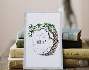 Tree Save the Date: Pretty Farm Watercolor Postcard Invitation