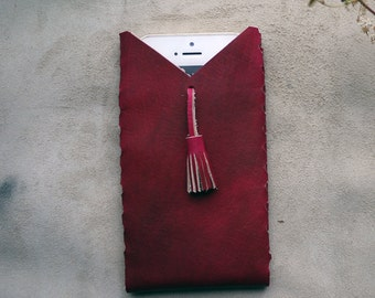 Oxblood iPhone case with tassel, leather phone case, iPhone 5/5s/6/6 + case.  Colour variations available.  Handmade in UK
