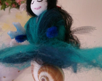 One of a kind, Wool Felt Fairy.  Blue Mermaid Faerie