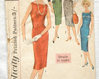 Vintage dress pattern, Simplicity 2614, 'Simple to Make' 1950s, size bust 32 inches