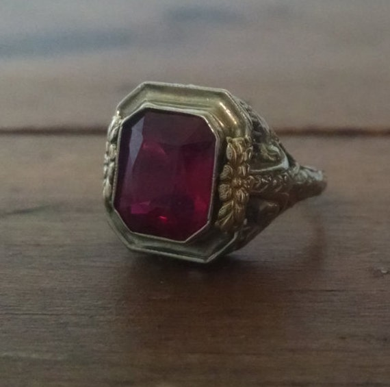 Sale Antique 14k White Gold Art Deco Simulated Ruby Ring