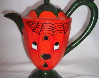 Pumpkin Face Teapot Hand Painted and Designed Pumpkin Tea Pot