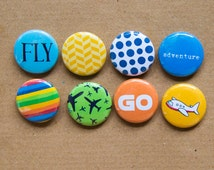 """Fly, Airplane, Travel buttons - Set of 8 (Eight) 1"""" Pinback Buttons, Magnets, or Flair,  Airplane, Travel Flair, Project Life, Bright Colors"""