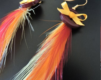 Earrings Rooster feathers and button