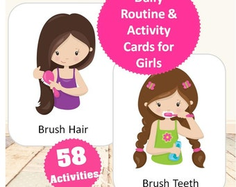 Daily Routine & Activity Cards for Girls-Brunette | Flashcards | Chore Chart | Instant Download | Toddler Planner | Preschool Planner