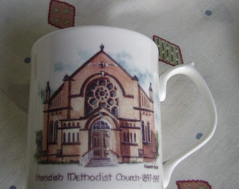 Centenary mug for Standish Methodist Church England with picture of church. Standish was the birthplace of Myles Standish of Plymouth Colony
