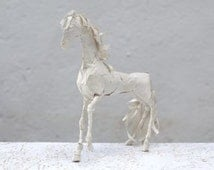 Paper Mache Sculpture, Recycled Cardboard, Animal Sculpture, Unique Home Accents, Recycled Art, New Home Gift,  Horse Figurine