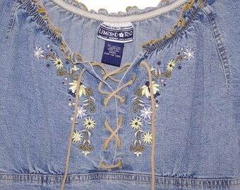 Vintage Denim Peasant Shirt By Limited Too Floral Embroidery Laces at Neckline Girl's XXXL Made in Hong Kong Free US Shipping