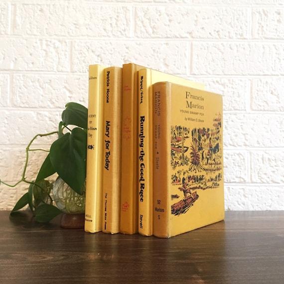 Yellow decorative books book shelf nursery decor mustard - Decorative books for shelves ...