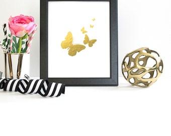 Faux Gold Butterflies Print