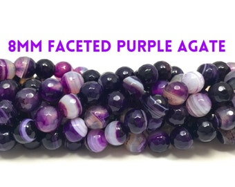 8mm Faceted Purple Striped Agate Gemstone Bead Strand