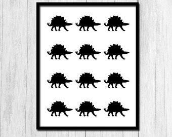 "Dinosaur Print ""Stegosaurus"" Print Kids Room Decor Digital Download Instant Download Dinosaur Wall Decor Kids Dinosaur Printables Art Print"