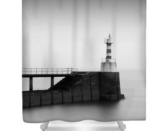 Lighthouse shower curtain, lighthouse bathroom decor, black and white, grey shower curtain, nautical decor, photo shower curtain, monochrome