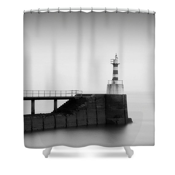 Lighthouse shower curtain lighthouse bathroom decor black for Bathroom decor lighthouse