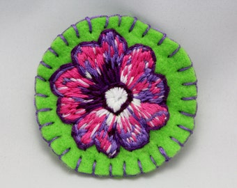 Embroidered Flower Pin Brooch