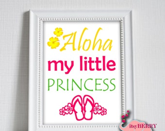 Aloha Wall Art, Hawaiian Nursery Room - Baby Shower Gift, Children's Room Art, Unique Gift, Colorful Print- Instant Download