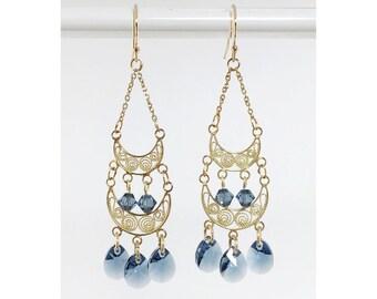 Vermeil, Gold-Filled, & Denim Blue Swarovski Crystal Chandelier Earrings