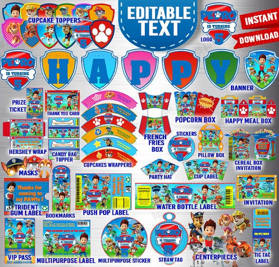 Paw patrol printable party kit birthday party kit invitations