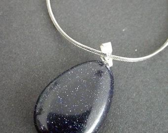 Blue Goldstone pendant necklace
