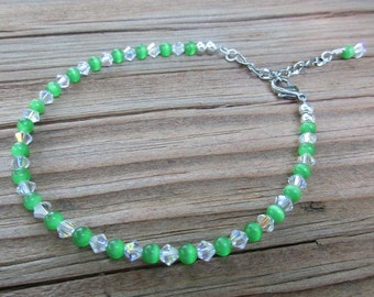 Apple Green Cat's Eye Anklet