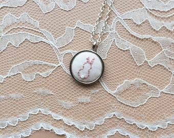 Hand Embroidered Bunny Rabbit Necklace, Rabbit Pendant, Embroidered Bunny