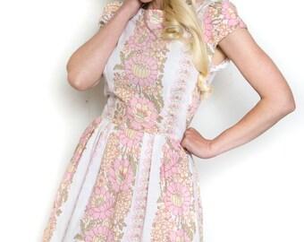 Handmade Vintage Inspired Floral Tea Dress Bridesmaid Dress 50's Rockabilly Size 10
