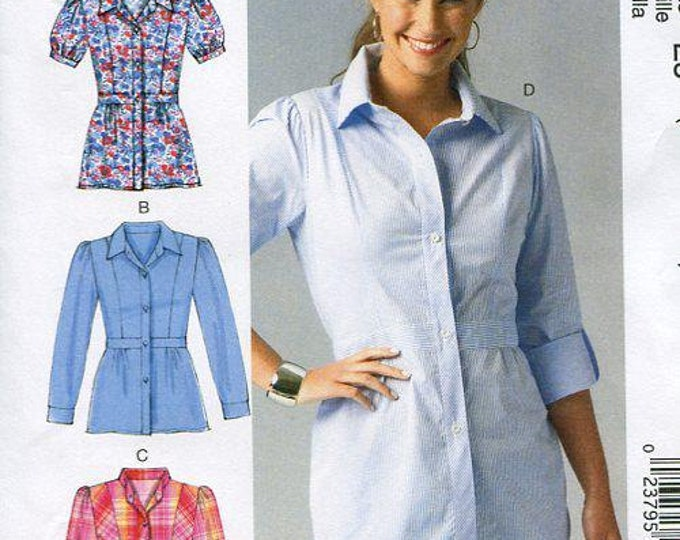 FREE US SHIP McCall's 6898 Shirt Blouse Waist inset Princess Seams Adorable Sewing Pattern 2014 Size 6/14 Bust 30 31 32 34 36