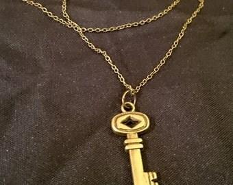 Antique Bronze Key charm necklace