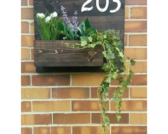 Rustic Address Planter, Address Sign, House Numbers Sign, Address Plaque, New House, Address Planter, Horizontal Address Sign