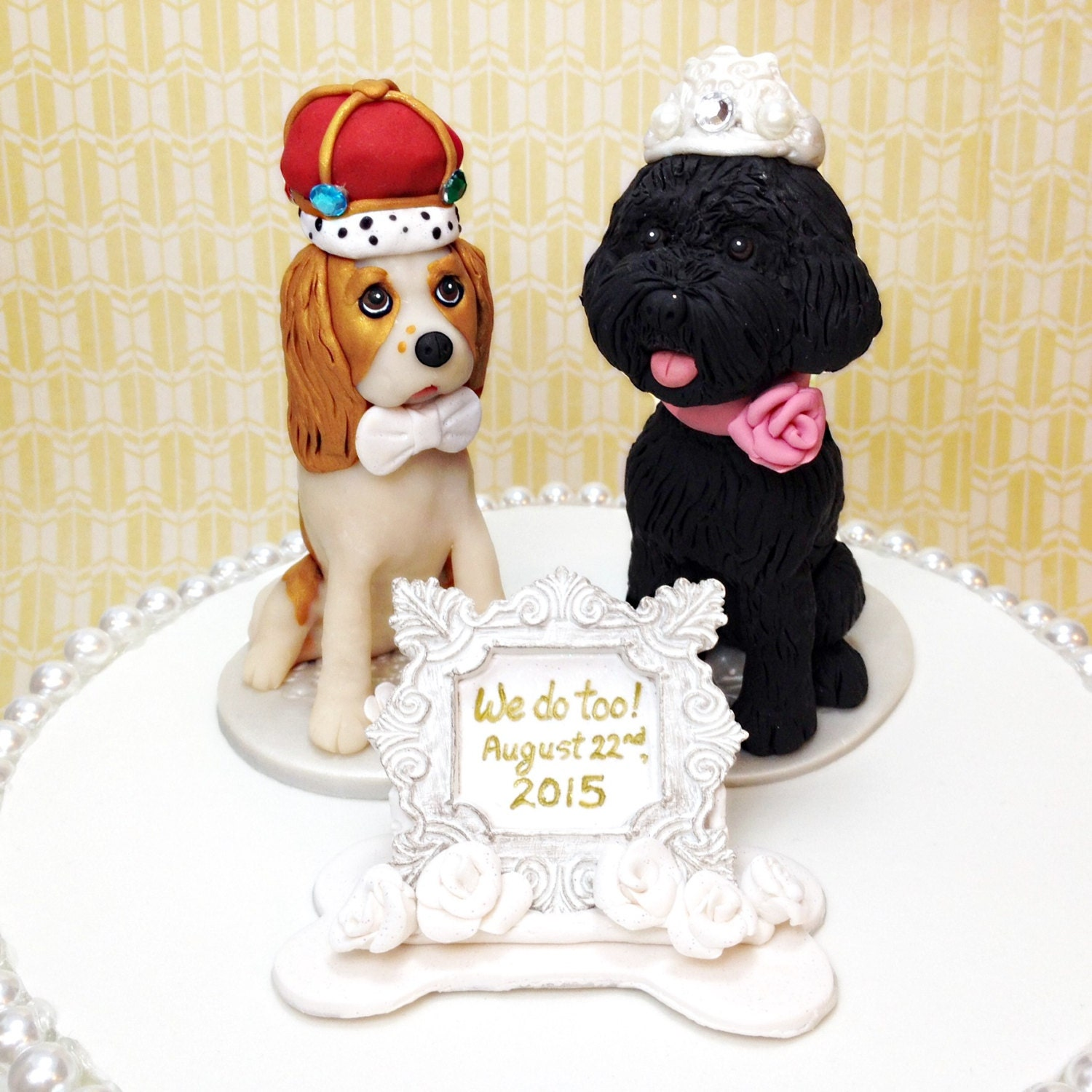 4 Wedding Dog Custom Cake Toppers Cavalier King by