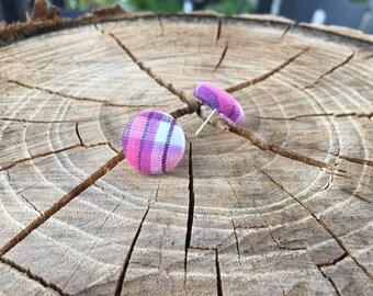Purple Plaid fabric button earrings