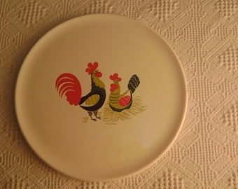 Vintage Ceramic Rooster and Hen Cake Plate, By Eastern China Co.