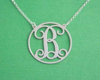 Uppercase Initial Necklace / Monogram Initial Necklace / Graduation Gifts / Monogram Necklace / Monogrammed Necklace/ Birthday Gifts/ Silver