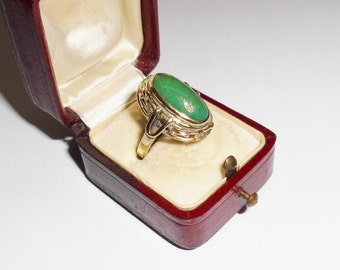 Old, ancient 333 gold ring jade 17.8 mm, size 7.5 GR130