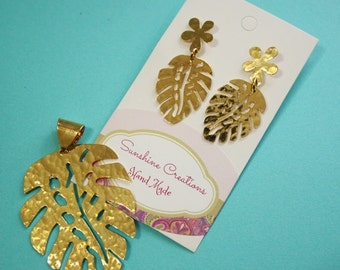 Leaf neacklace with earings in Stainless steel and 18k Gold