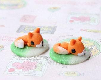 Kawaii Fox charm - Polymer clay charm jewelry