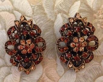 Glamorous Vintage Dauplaise Clip Ons, Rhinestone Clip On Earrings, Topaz Clip On Earrings, Rhinestone Earrings