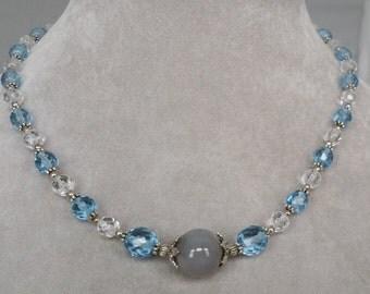 Light Blue Czech Crystal Necklace