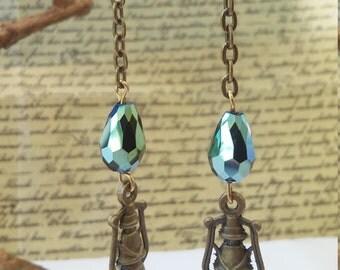 SEEK TRUTH - Antiqued Brass Lantern Earrings