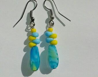 Aqua, Yellow & Blue Beaded Earrings