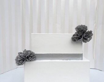 Classic silver-decorated wedding cake card box, wedding card box, simple card box, custom cake card box, wedding decor, silver card box