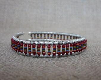 Deep Red Resistor Cuff Bracelet