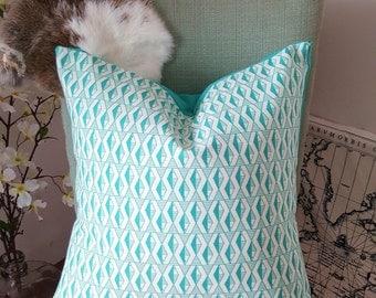 SALE Indoor/Outdoor Mint Diamond Pillow