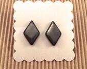Diamond Metallic Stud Earrings with Chocolate Brown Outline
