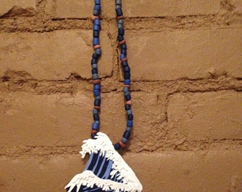 Hokusai: Wearable Art Bead Necklace for Men and Women