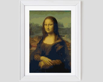 Mona Lisa cross stitch pattern, modern cross stitch pattern, mona list counted cross stitch pattern, mona lisa cross stitch pdf pattern