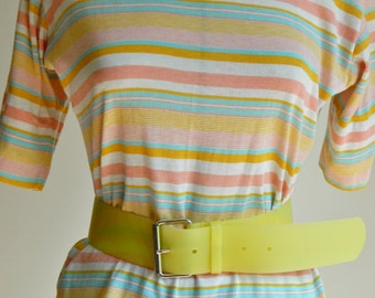 "Vintage 80s Butter-Yellow Translucent Rubber Belt - 37"" Belt - Men's L, Women's L/XL"