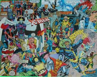 Xmen Comic Book Collage Art Decoupage Marvel One of a Kind, Unique X-Men Artwork, Wolverine, Beast, Cyclops