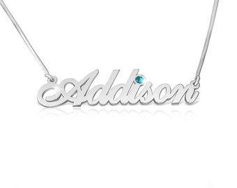 Name On Necklace September Birthstone Necklace Silver Name Necklaces With Name Birthstone Graduation Gift September Birth Stone Necklace